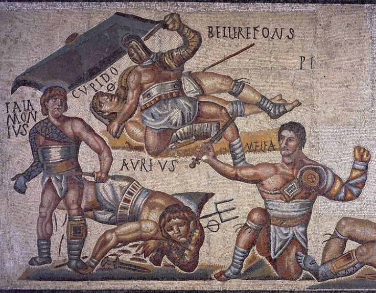 Roman mosaic, gladiators combat from mosaic of the Gladiator, 320 A.C. from Terranova, Rome. Galleria Borghese, Rome
