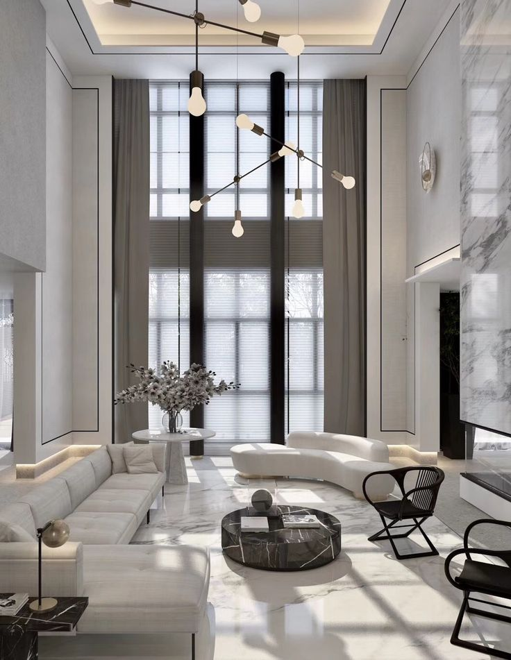 High ceilings black and white interior