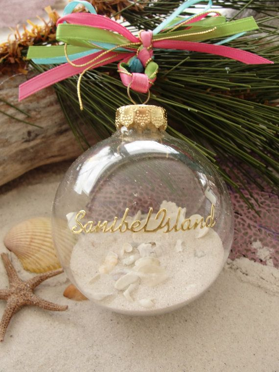 Sanibel Island Ornament Favors Beach Wedding Destination Seaside Christmas Tropical