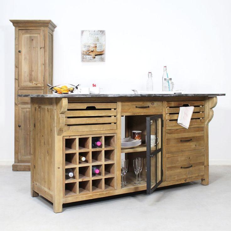 Ilot Central Bois Massif Comportant Un Range Bouteille Meuble Cuisine Mobilier De Salon Range Bouteille