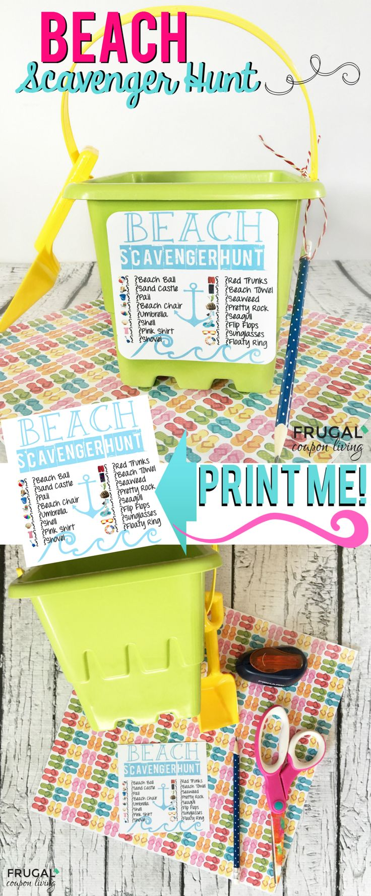 Looking for a fun activity for the beach? This Beach Scavenger Hunt is sure to keep the kids busy. Get your free printable, glue or tape to a sand bucket and enjoy! Free beach printable on Frugal Coupon Living.