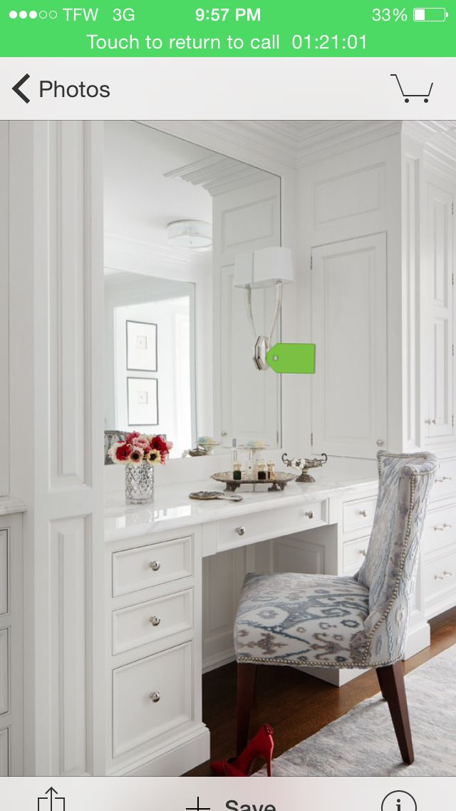 pretty vanity - i like the concept of a really big mirror on one of the walls (but i don't like unfinished edges)