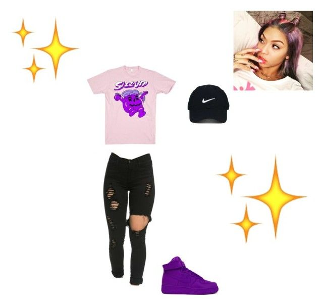 💜🖤 by melaninniah on Polyvore featuring polyvore, moda, style, Nike Golf, NIKE, fashion and clothing