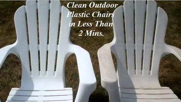 Clean Your Outdoor Plastic Patio Furniture in Less Than 2 Minutes>>I've tried this and it takes the finish off the furniture...Do Not do this unless you w  ant to re-paint your furniture!