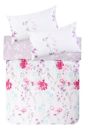 "This floral painterly print duvet cover set is created from a soft 132 thread count polycotton base creating a soft feminine look. Single and three quarter include 1 standard pillowcase, double, queen, king and super king include 2 standard pillowcases.<div class=""pdpDescContent""><BR /><BR /><b class=""pdpDesc"">Fabric Content:</b><BR />45% Cotton 55% Polyester<BR /><BR /><b class=""pdpDesc"">Wash Care:</b><BR>Lukewarm machine wash</div>"