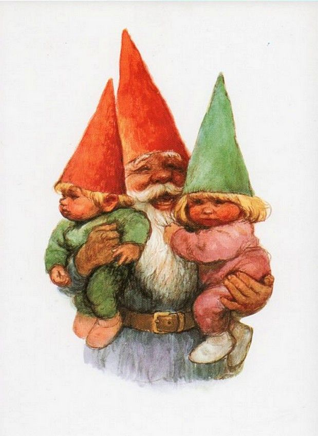 """Rien Poortvliet (1932-1995) —  Gnome Elf David and  the Kids """"The Secret Book of Gnomes"""" by Wil Huygen (619x850)"""