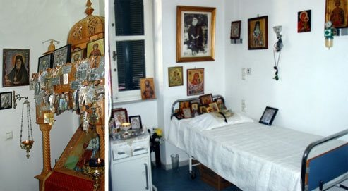 This is the hospital bed at Aretaieion Hospital in Athens, Greece in which the Great Wonderworker St. Nektarios of Aegina reposed in the Lord. One can visit this room and pray. Every morning the doctors and nurses before going to work place their coats and sweaters on the bed, say a prayer and then go to work. Holy St. Nektarios, pray to God for us!