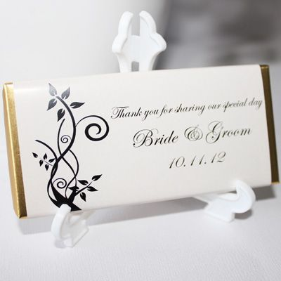 Personalised Chocolate Bar Favours - Floral Swirls Design