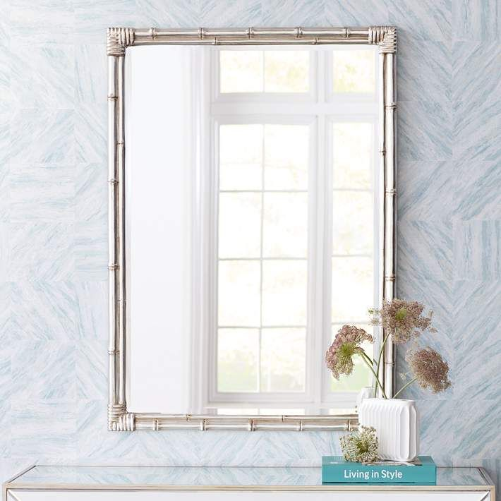 """Bamboo Silver 31"""" x 43"""" Rectangle Wall Mirror - #15D30 