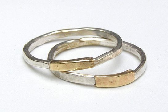 This mixed-metals ring set is downright groovy. #refinery29 http://www.refinery29.com/etsy-wedding-bands#slide-2