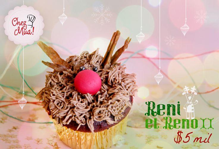 Reni el Reno II, es el hijo de nuestro Reni el reno I, producto del amor de la época navideña y de unas largas vacaciones con una chica de su manada. Disfruta de este fruto del amor aquí: https://www.facebook.com/chezmua/app_137541772984354  #cupcake #navidad #calico