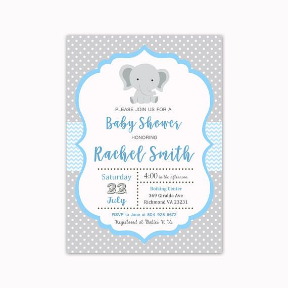 Elephant Baby Shower Invitation Baby Shower Invitation Baby