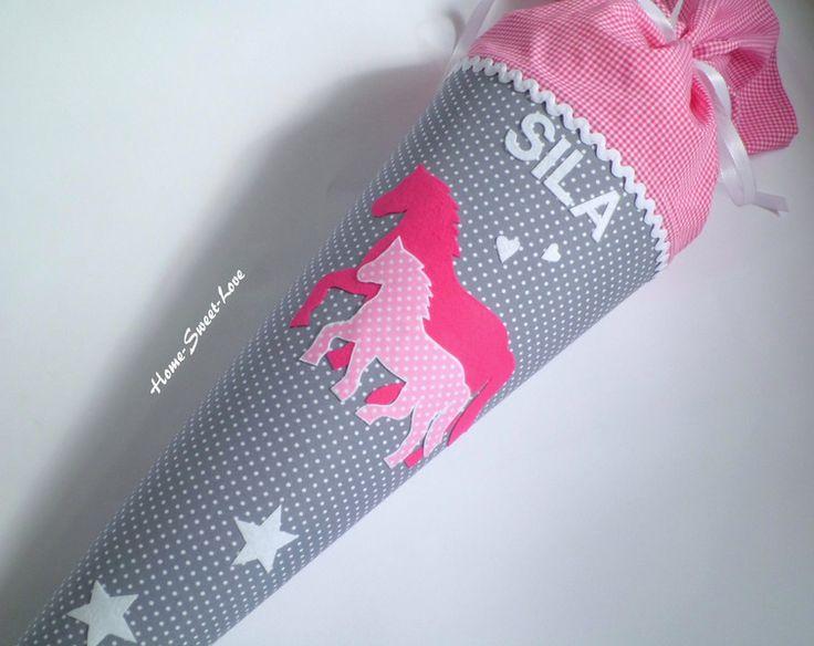 """Schultüte+""""+Pferde+Romantisch+""""+++Zuckertüte+von+Home-sweet-love+auf+DaWanda.com"""