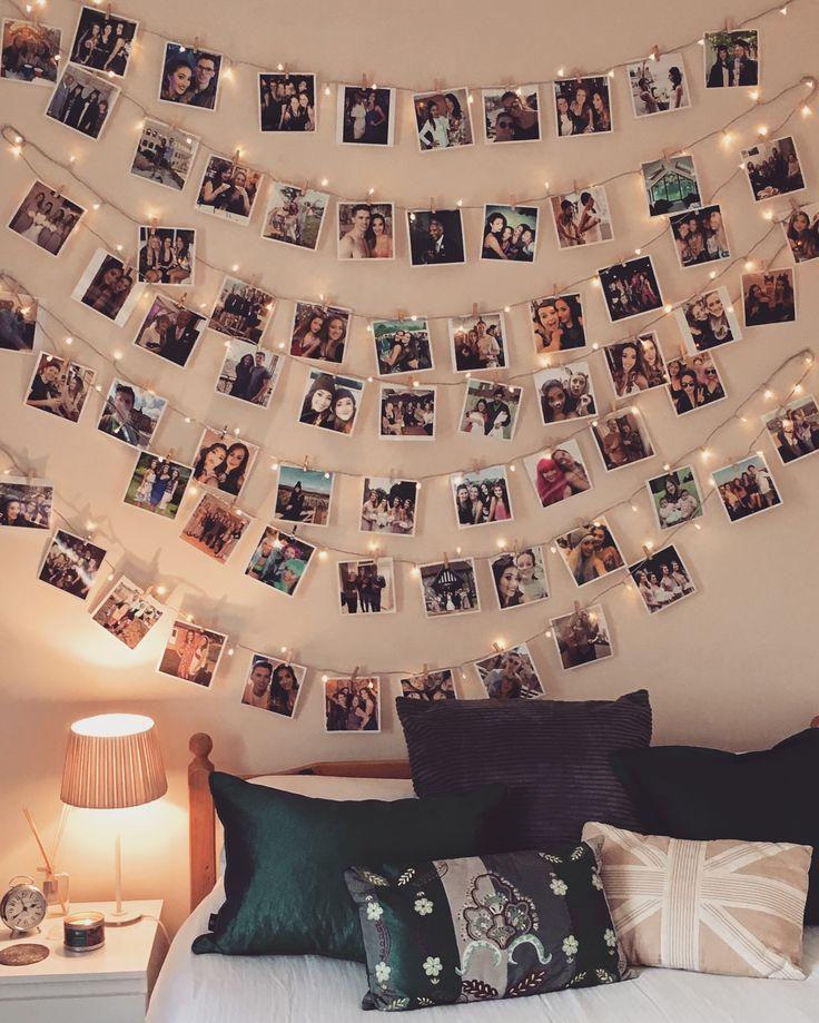 Photo Display With Fairy Lights Bedroom Ideas Room