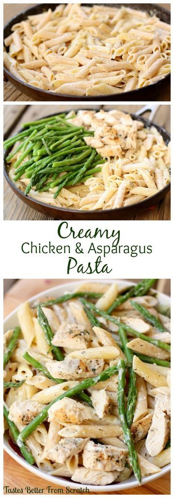 Penne pasta with chicken and asparagus in a creamy parmesan sauce. | tastesbetterfromscratch.com