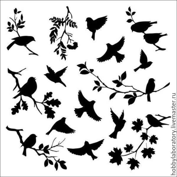 "Купить Трафарет ""Птицы"" - белый, трафарет, трафарет для декупажа, трафареты для творчества, трафарет для декора"