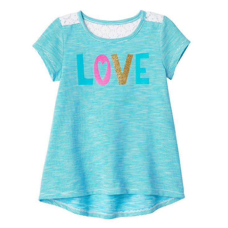 Toddler Girl Jumping Beans® Glitter Graphic High-Low Hem Tee, Size: 4T, Turquoise/Blue (Turq/Aqua)