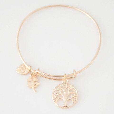 Tree of Life Rose Gold Wire Bangle Stackable Adjustable Bracelet, Stack with Alex and Ani