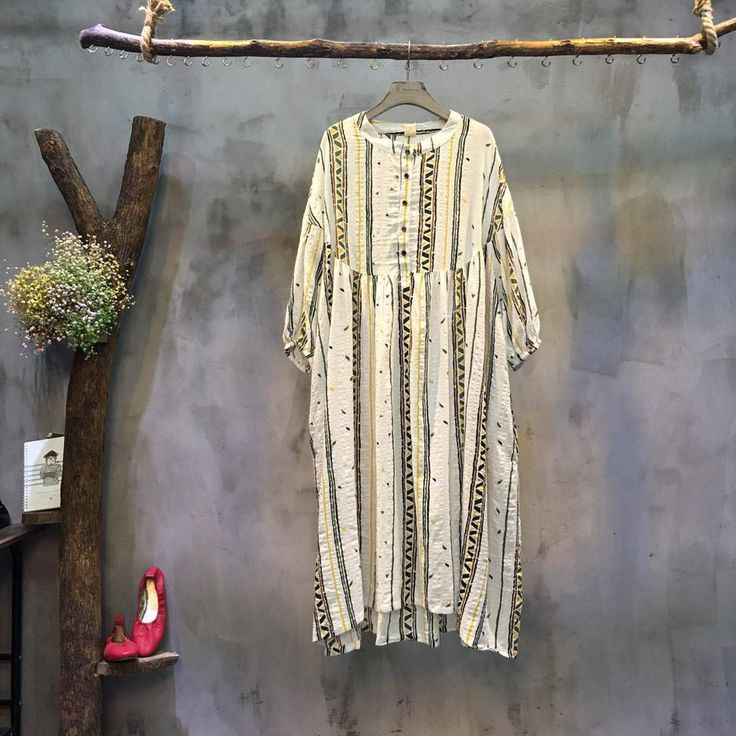 Vintage Striped Linen Long Loose Dress