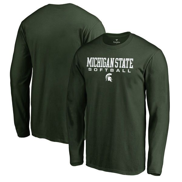 Michigan State Spartans Fanatics Branded True Sport Softball Long Sleeve T-Shirt - Green - $21.99