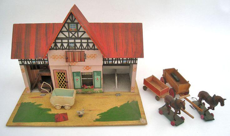 alter Spielzeug Bauernhof Bauernhaus Holzspielzeug Pferde Wagen Kinderwagen