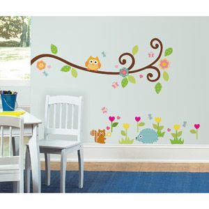 Room Mates Happy Scroll Branch Peel & Stick Wall Decals