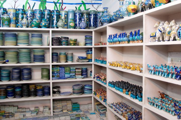 Blue pottery store with a different view.