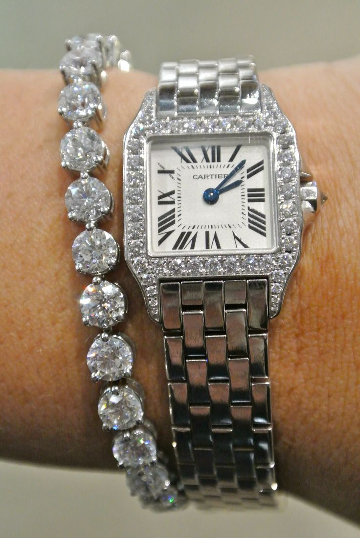 LOOOOVE the bracelet!!Cartier Watch | Estate Jewelry Indianapolis. Heart the diamond tennis bracelet.