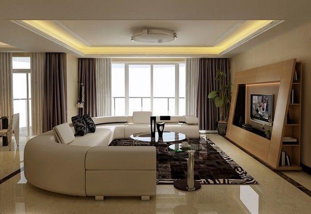 awesome Déco Salon - moderne canapé d'angle en cuir couleur blanche...