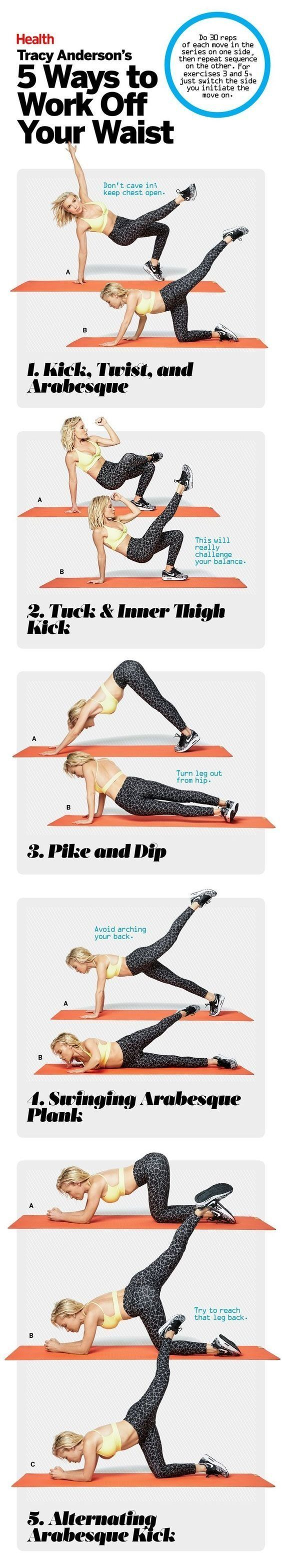 Because Tracy Anderson knows best. Here are 5 of the star trainer's fave exercises to work off your waist.   Health.com