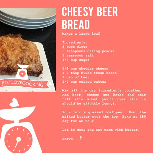 Cheesy Beer Bread - quick and easy. #bread #reacipe #beerbread #justlovecooking