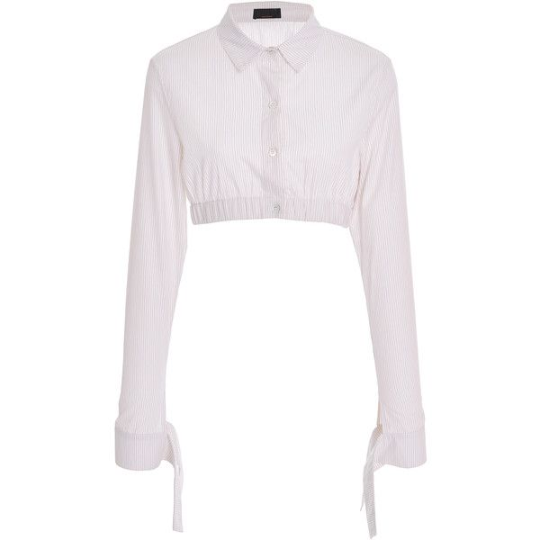 Maki Oh Striped Cotton Half Shirt (100.225 HUF) ❤ liked on Polyvore featuring tops, neutral, long sleeve stripe shirt, white striped shirt, tie crop top, white long sleeve shirt and long-sleeve crop tops