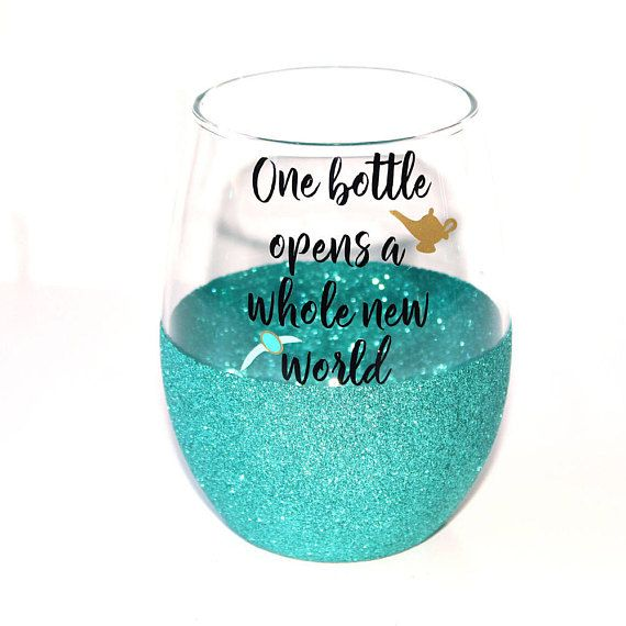 This listing is for a Disneys Aladdin inspired personalized glitter dipped stemless wine glass that says One Bottle Opens a Whole New World. PERFECT FOR: ♥ Disney fans ♥ Princess Jasmine and Aladdin fans ♥ Disney Princess bachelorette themed parties ♥ Disney Mom Mothers Day gift DETAILS: ♥$14.95 for each glass. ♥ Made with professional grade, permanent vinyl! ♥ Hand wash only. Glitter is sealed so it does not shed. ♥ Available in 20 different glitter colors! ♥ Each glass can be…