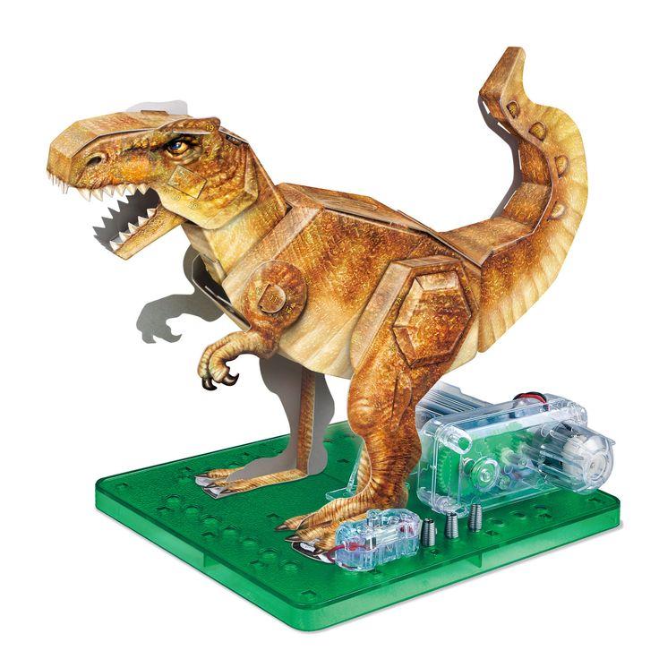 AWW AW-PSC-Dnob Motorized Dino 3D Puzzle Brown