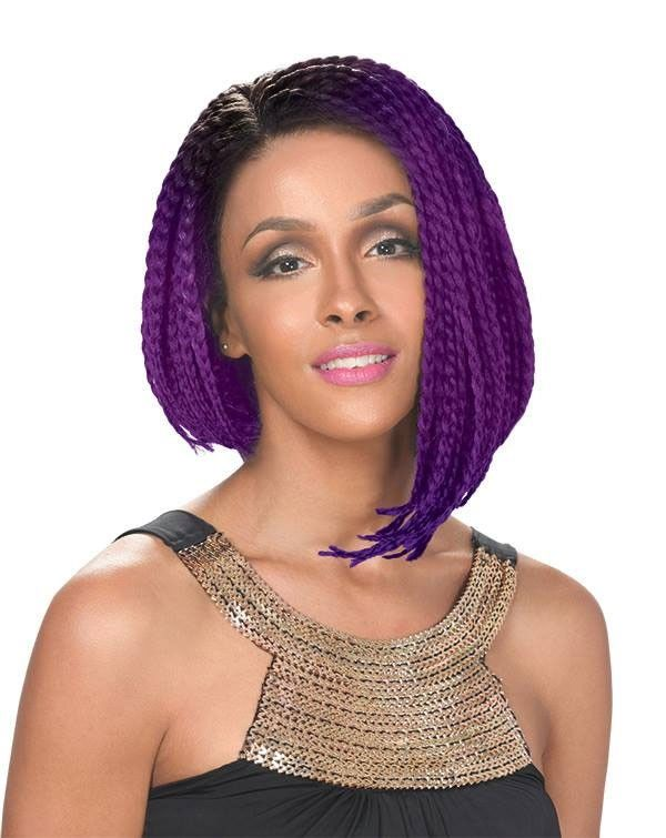Zury Sis Afro Braid Lace Front Wig BOB LOPSIDED (Individually Hand Braided)