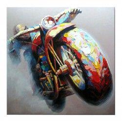 Tableau Moto Motard Chopper Peinture à l'huile sur toile Fait main Art contemporain