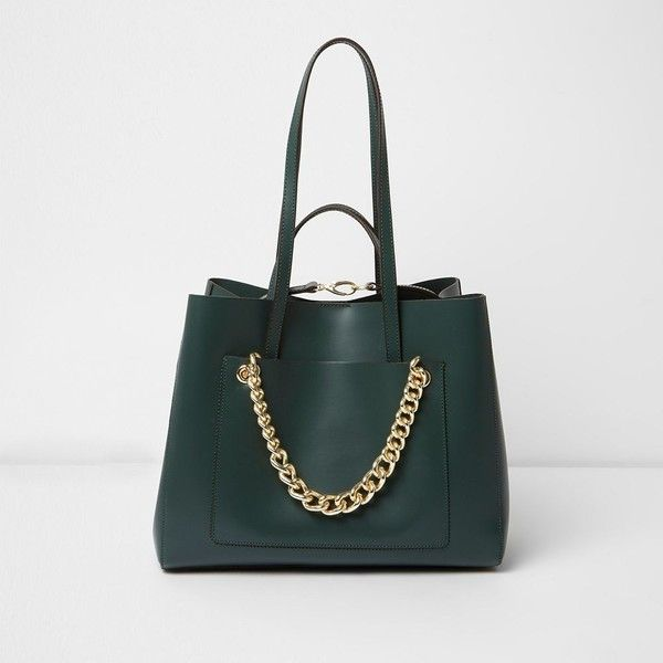 River Island Dark green leather chain winged tote bag ($170) ❤ liked on Polyvore featuring bags, handbags, tote bags, bags / purses, green, shoppers / tote bags, women, leather shopper tote, leather handbags and shopping tote bags