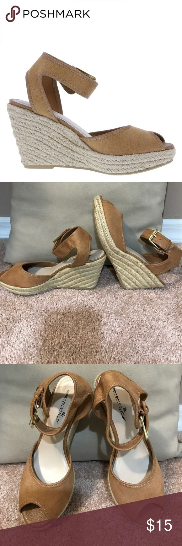 "Montego Bay Club Espadrille Wedge Sandals Light brown faux suede fabric upper on an espadrille wedge . Buckles around the ankle with gold tone hardware. Peep toe . 1"" platform 3.5"" heel. Montego Bay Club Shoes Wedges"