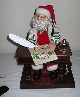 ANIMATED MUSICAL SANTA WRITING HIS LIST ELECTRIC ON OFF SWITCH CHRISTMAS DECOR