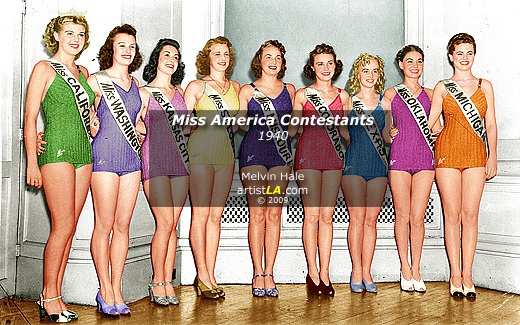 Miss America Contestants c1940 - Atlantic City NJ by Melivn Hale ArtistLA    Miss America title went to Rosemary LaPlanche, Miss California from Los Angeles, shown in the green swimsuit.  Rosemary LaPlanche—Miss America 1941—was first-runner up in the 1940 pageant. The rules were changed shortly thereafter to ensure that contestants could only compete once (at the national level) for the Miss America title. She went on to pursue an acting career.