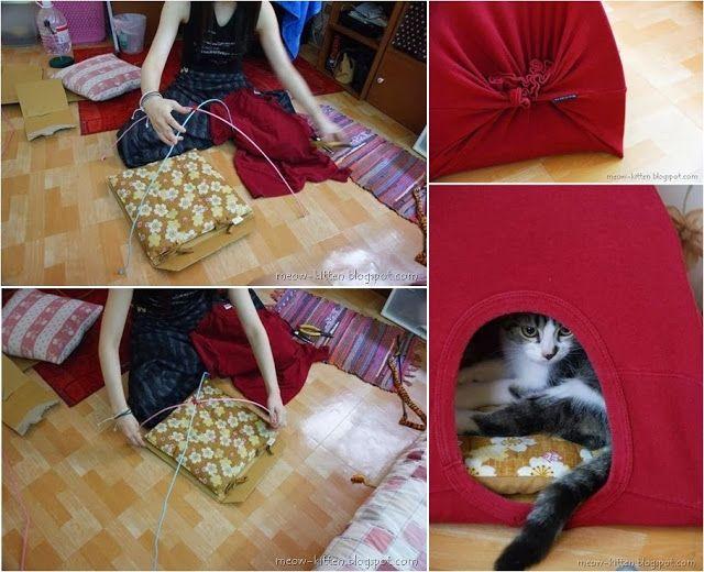 DIY Cat Tent Using Old Tshirts