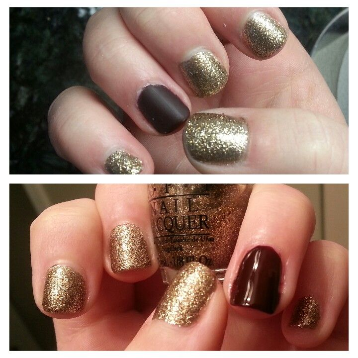 Gold Sparkles with dark red and later an opi matte finish.