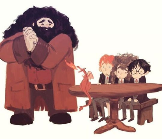 Hagrid has one mode with dangerous beasties, and it's :) by lisa villella. Pinned by @lilyriverside