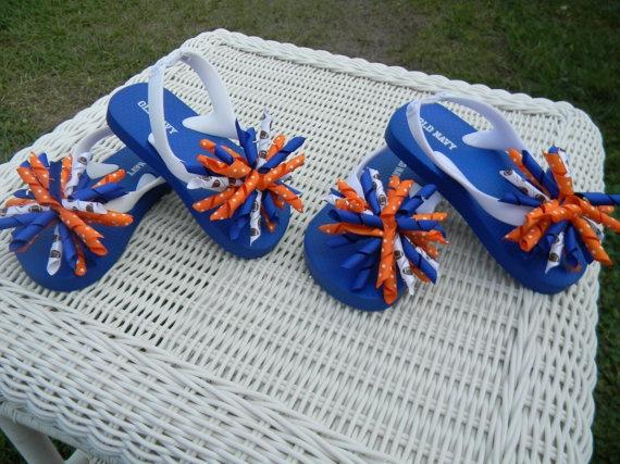 FL Gator Football Korker Flip Flops by KurlsandBowsBoutique, $15.00