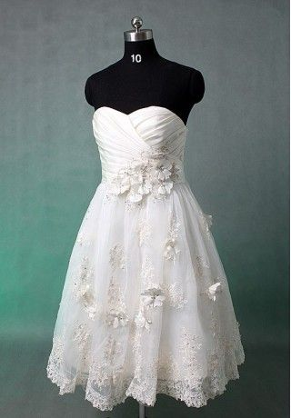 Organza strapless sweetheart a-line elegant short wedding dress