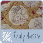 Truly Aussie BOM double sided quilt. Australiana stitcheries on the front, ausse slang sayings on the back. by Hugs n kisses.