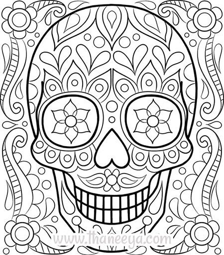 this free sugar skull coloring page by thaneeya mcardle is a fun day of the dead activity for kids and adults