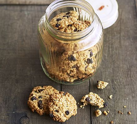 Oatmeal raisin cookies. Fill the biscuit tin with these rustic cookies. Soaking the raisins gives a boost to the texture and stops them from burning during cooking