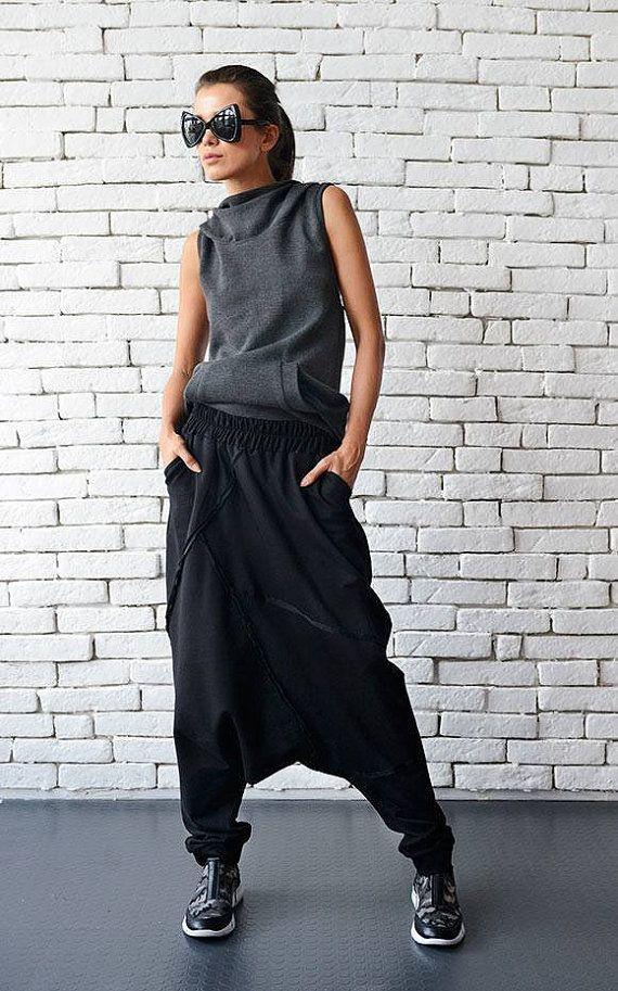 NEW Extravagant Black Pants/Loose Casual Pants/Comfortable Drop Crotch Pants/Oversize Harem Pants/Wide Leg Hippie Pants/Long Black Trousers