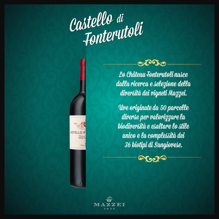 CASTELLO DI FONTERUTOLI - Castello di Fonterutoli came from research and selection. Mazzei of vineyards. Grapes originate from 50 different parcels to enhance biodiversity and the unique style and complexity of Sangiovese's 36 biotypes. @marchesimazzei #winegallery #marchesimazzei #fonterutoli #wine #tuscany #winelovers